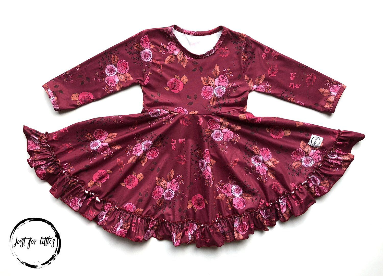 Burgundy Floral Twirl Dress Just For Littles