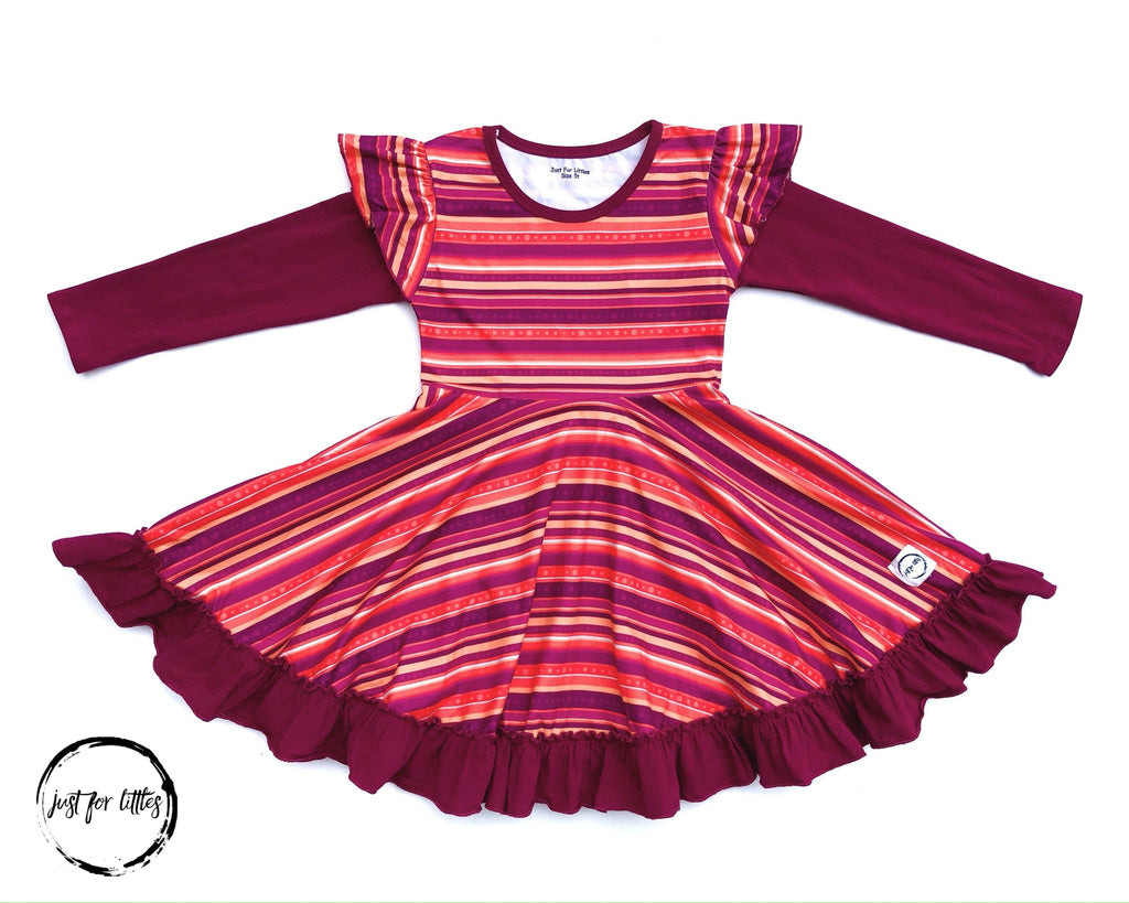 Burgundy Stripe Twirl Dress Just For Littles