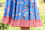 Load image into Gallery viewer, Candy Cane Twirl Dress Just For Littles