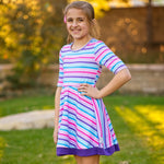 Load image into Gallery viewer, Candy Stripe Twirl Dress Just For Littles