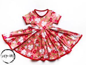 Coral Floral Twirl Dress Just For Littles