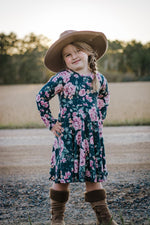 Load image into Gallery viewer, Emerald Floral Twirl Dress Dress Just For Littles