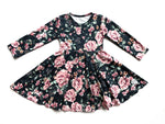 Load image into Gallery viewer, Emerald Floral Twirl Dress Just For Littles