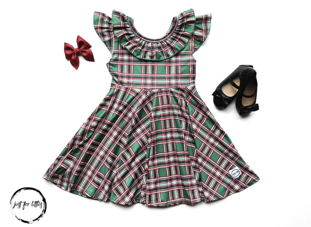Green Plaid Twirl Dress Dress Just For Littles