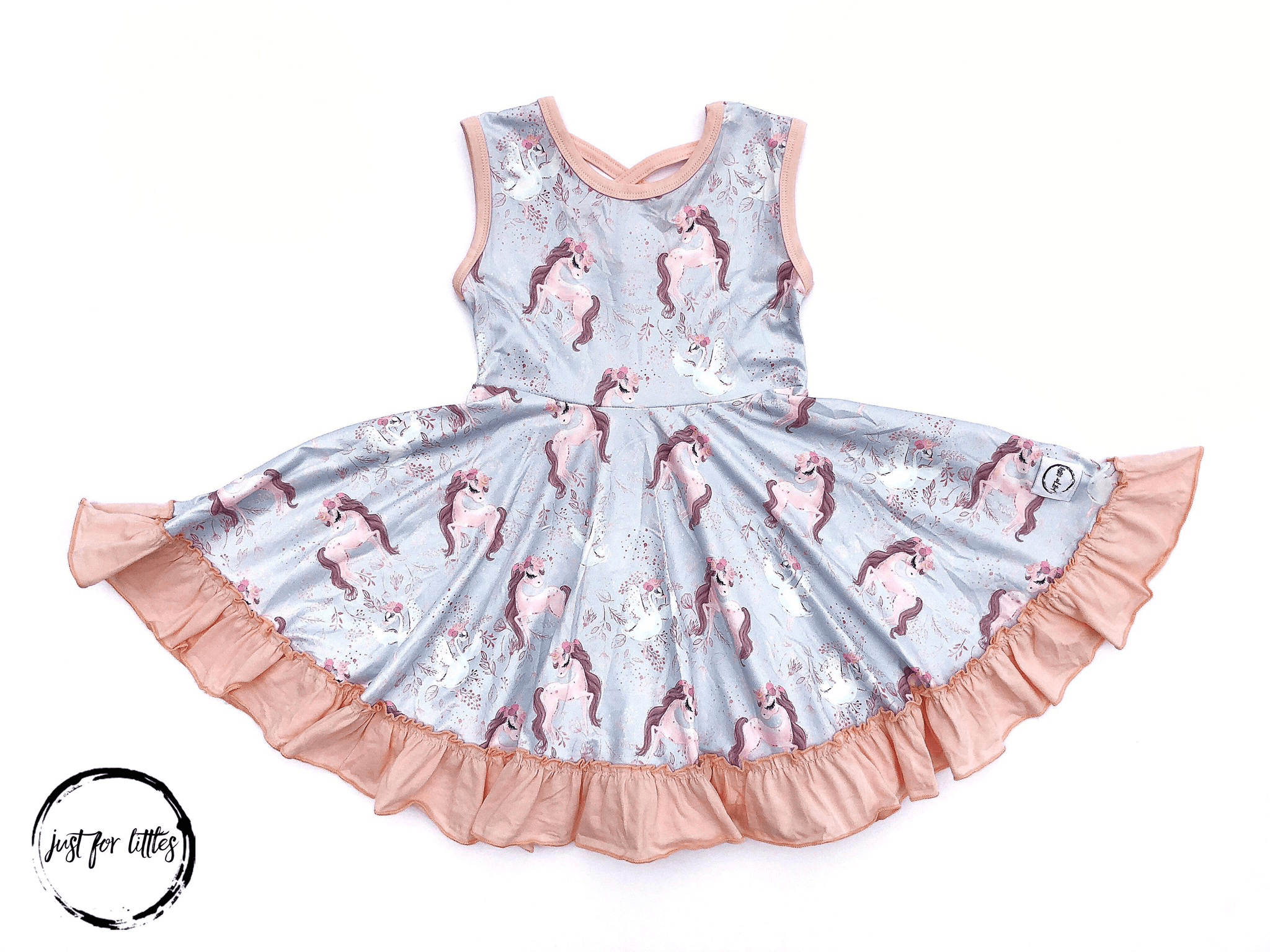 Horse And Swan Twirl Dress Just For Littles