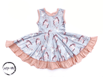 Load image into Gallery viewer, Horse And Swan Twirl Dress Just For Littles