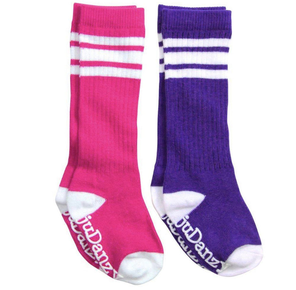 Hot Pink and Purple with White Stripes Tube Socks accessories juDanzy