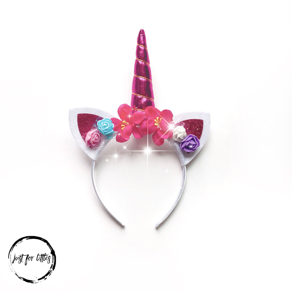 Hot Pink Unicorn Headband accessories Just For Littles