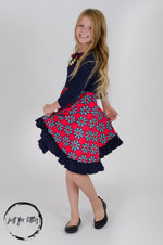 Load image into Gallery viewer, Navy Flower Twirl Dress Just For Littles