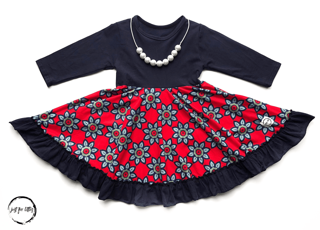 Navy Flower Twirl Dress Just For Littles