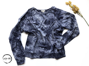 Navy Tie Dye Pullover Sweatshirt Shirt Endless Blu