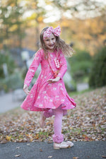 Load image into Gallery viewer, Pink Pumpkin Twirl Dress Just For Littles