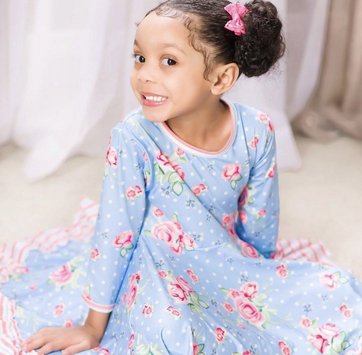 Polka Dot Floral Twirl Dress Just For Littles