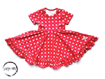 Load image into Gallery viewer, Polka Dot Twirl Dress Just For Littles