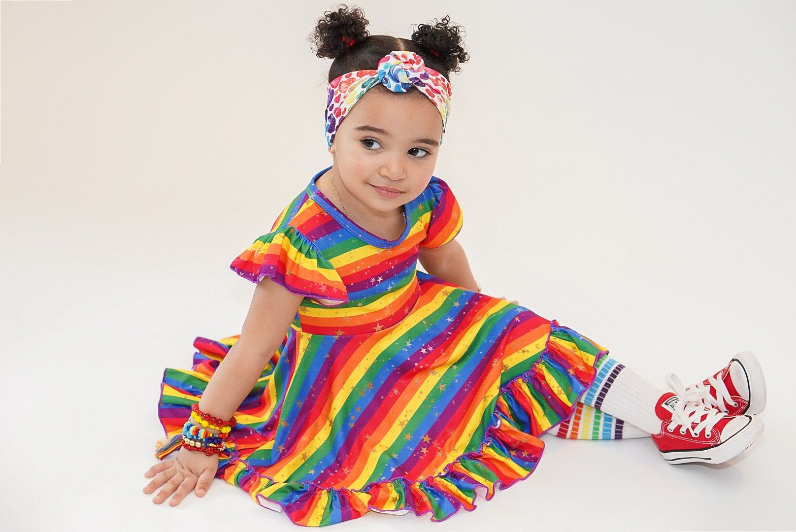Rainbow Stripe Twirl Dress Dress Just For Littles