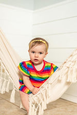 Load image into Gallery viewer, Rainbow Stripe Twirl Dress Dress Just For Littles