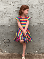 Load image into Gallery viewer, Rainbow Stripe Twirl Dress Just For Littles
