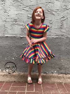 Rainbow Stripe Twirl Dress Just For Littles