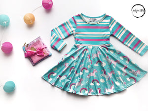 Rainbow Unicorn Twirl Dress Just For Littles