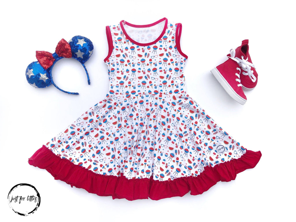 Red White & Blue Twirl Just For Littles