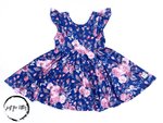 Load image into Gallery viewer, Royal Blue Floral Twirl Dress Just For Littles