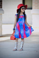 Load image into Gallery viewer, RWB Tie Dye Dress Just For Littles