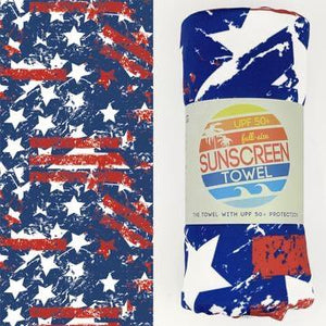 Stars & Stripes - UPF 50+ Sunscreen Towel Full Size Luv Bug Co