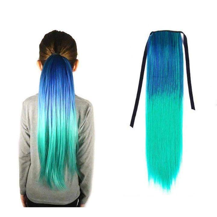 Teal and Aqua Straight Ponytail Hair Extension Magic Manes