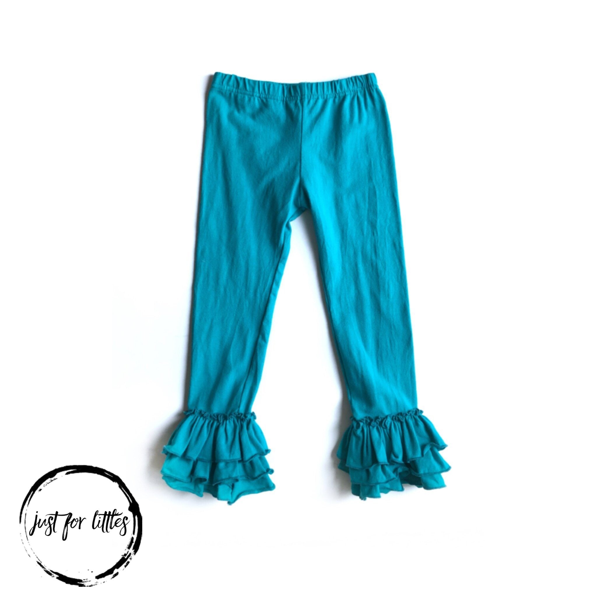 Teal Three-Tier Leggings Just For Littles