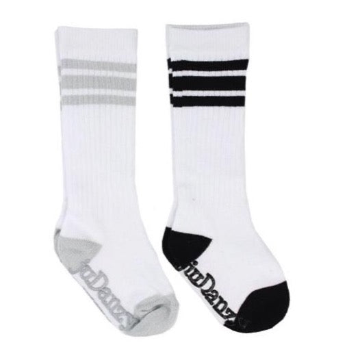 White with Gray and Black Stripes Tube Socks accessories juDanzy
