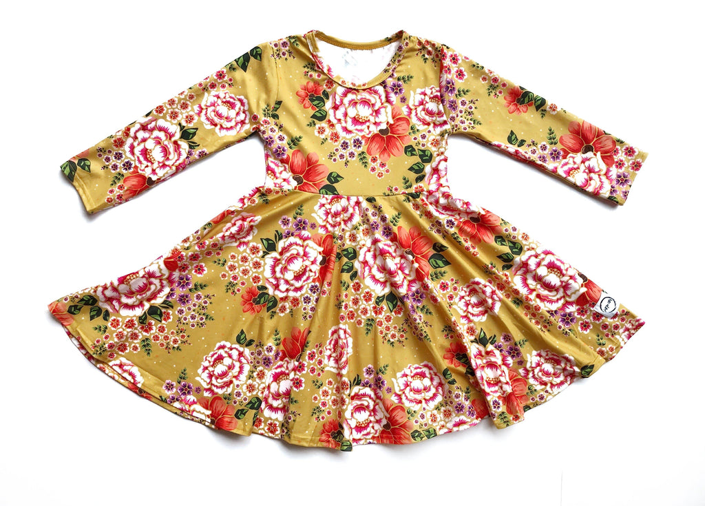 Yellow Floral Twirl Dress Just For Littles