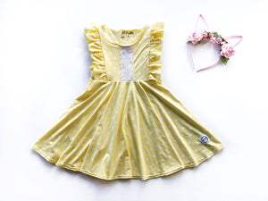 Yellow Polka Dot Twirl Dress Just For Littles