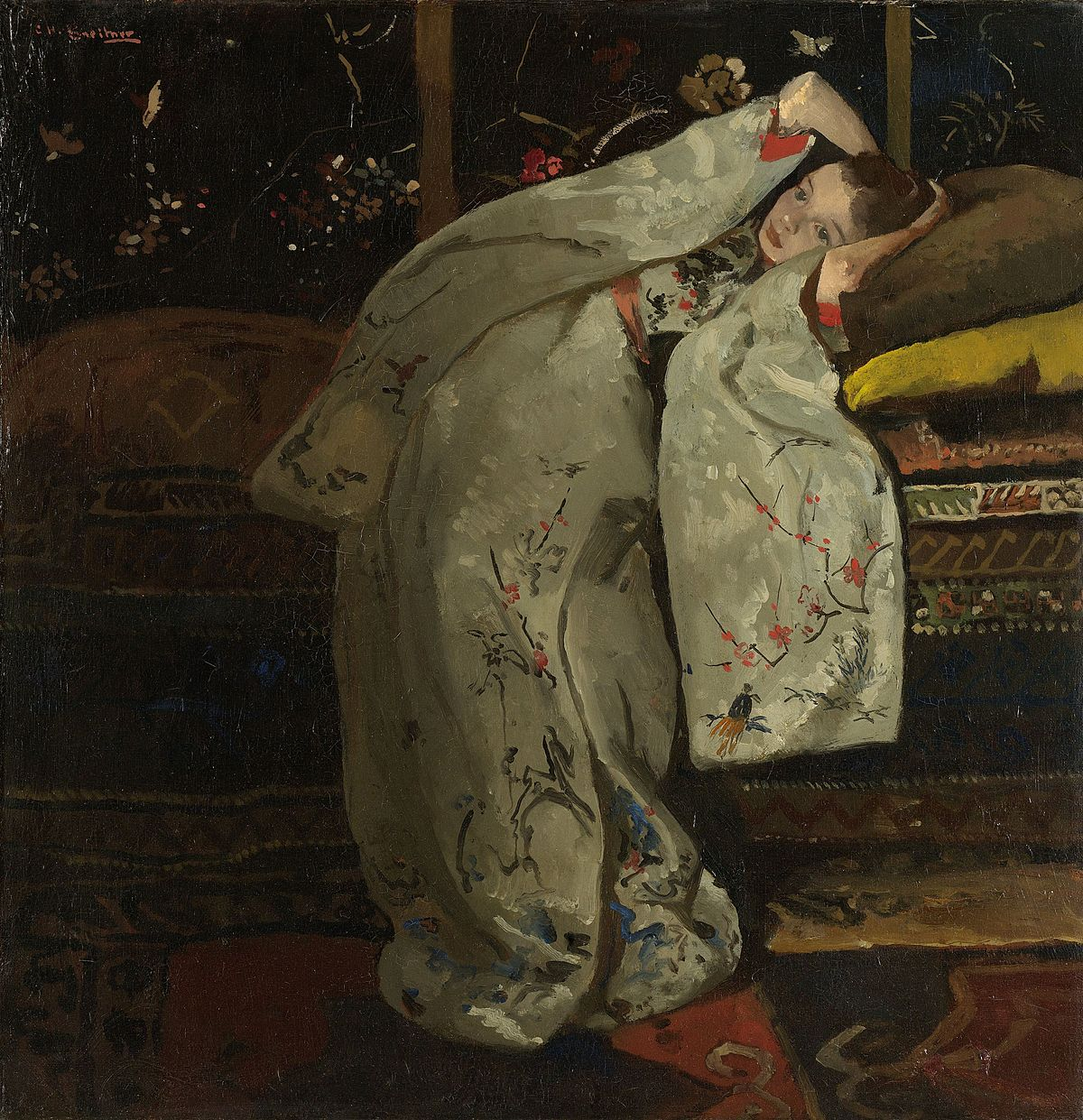 Girl In A White Kimono [1894] - George Hendrik Breitner Kiaroskuro Decor- Canvas Prints, Home Décor & Fashion