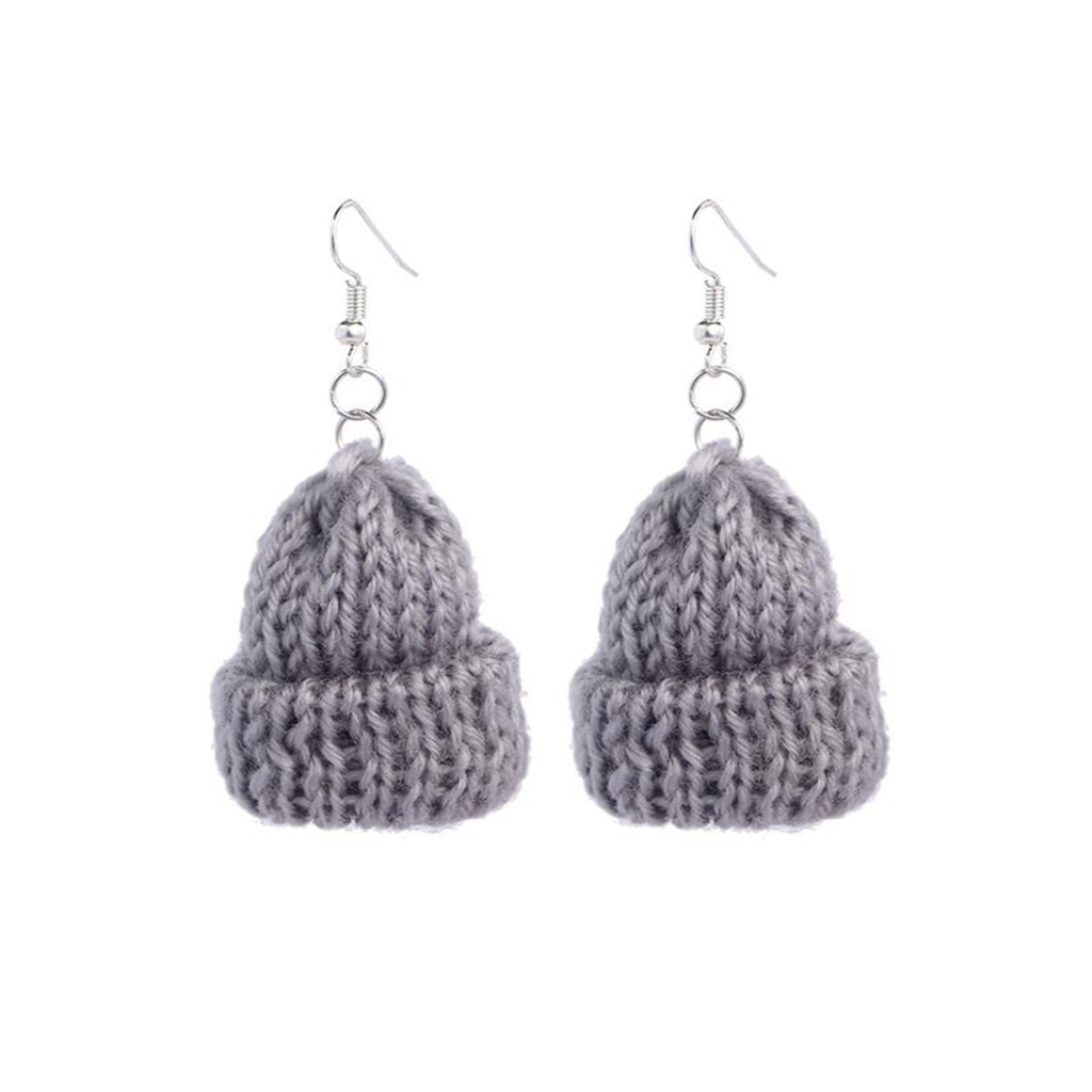 BEANIE Retro Knitted Earrings - Kiaroskuro