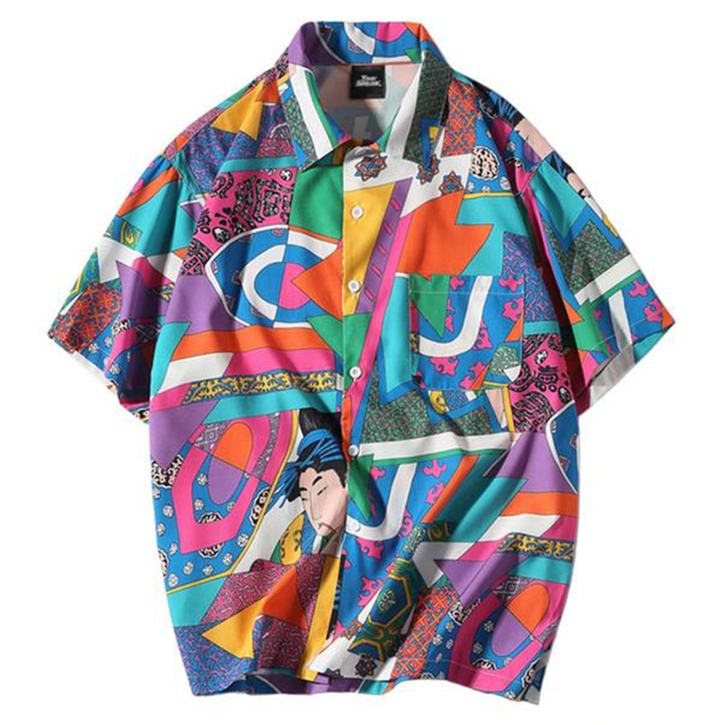 KABUKI Retro Japanese Style Button Up Shirt - Kiaroskuro Kiaroskuro Decor- Canvas Prints, Home Décor & Fashion