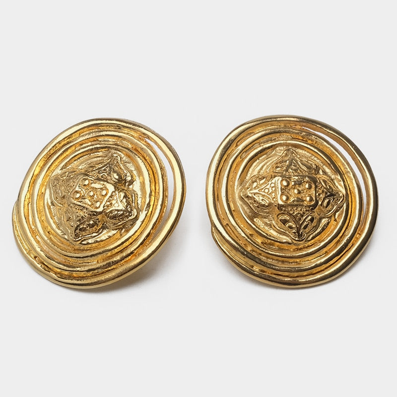 ATLANTICA Circular Engraved Oversize Stud Earrings - Kiaroskuro  Kiaroskuro Decor- Canvas Prints, Home Décor & Fashion