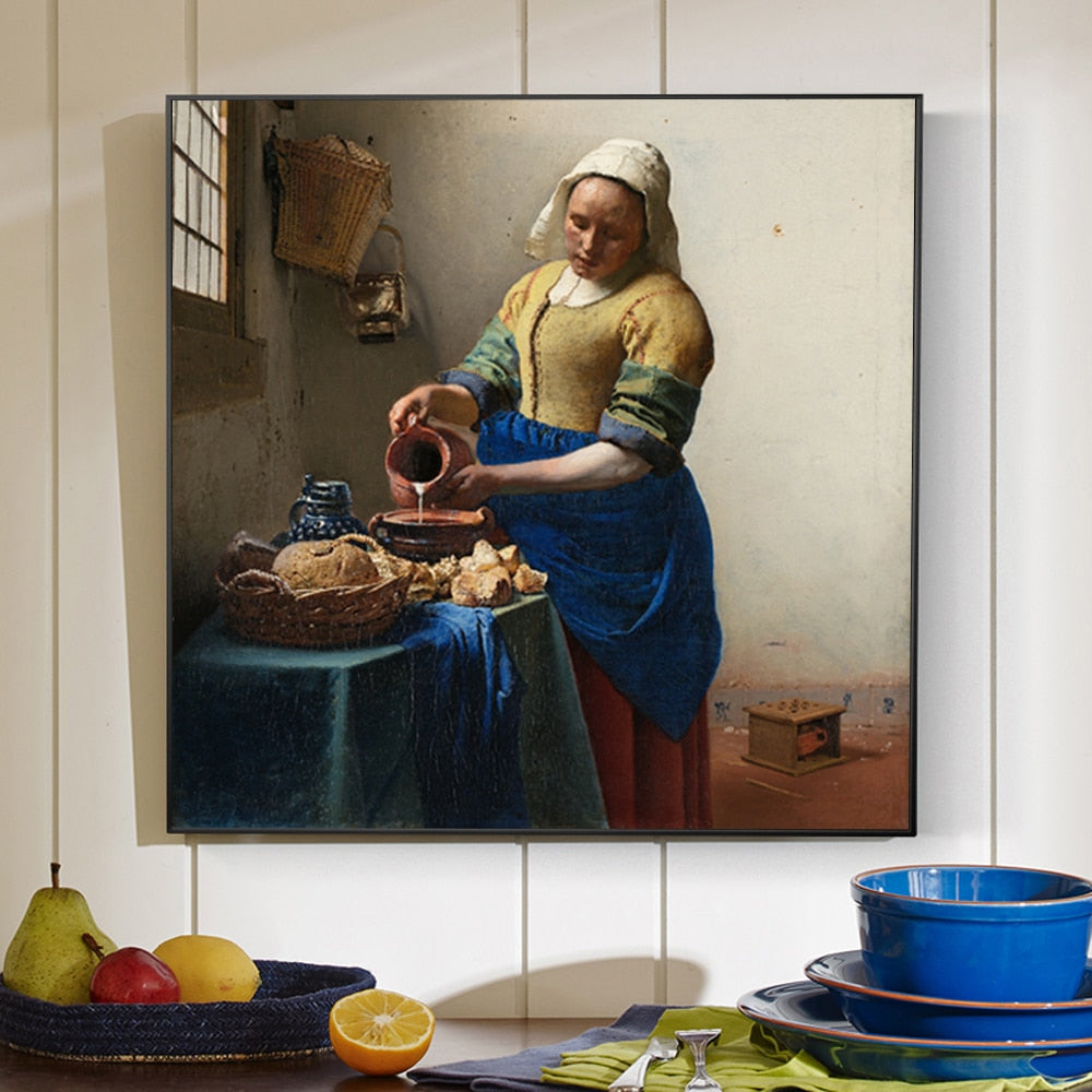 Het Melkmeisje (The Milkmaid) [1658] - Johannes Vermeer Kiaroskuro Decor- Canvas Prints, Home Décor & Fashion