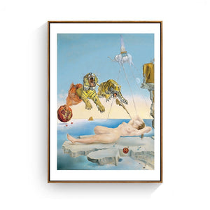 Dream Caused by the Flight of a Bee Around a Pomegranate a Second Before Awakening [1944] - Salvador Dali Kiaroskuro Decor- Canvas Prints, Home Décor & Fashion