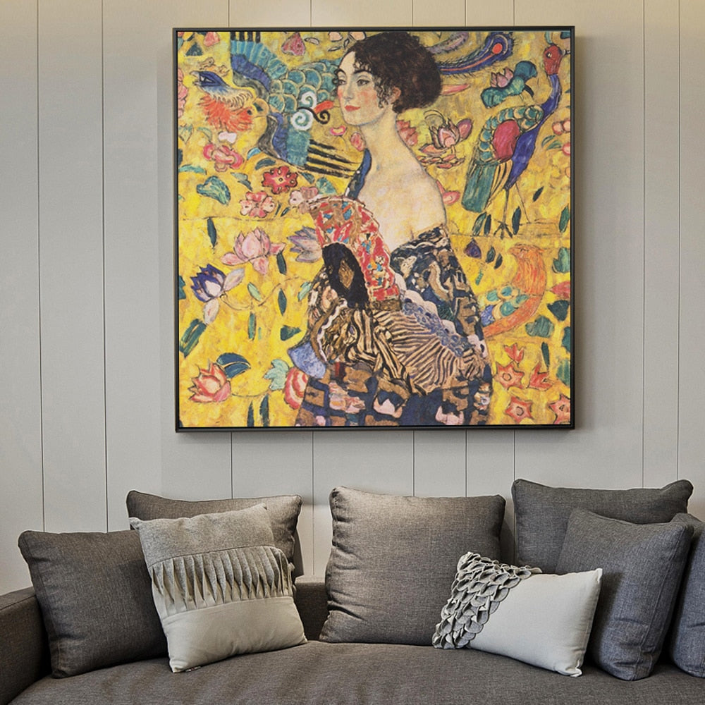 Lady with Fan [1918] - Gustav Klimt Kiaroskuro Decor- Canvas Prints, Home Décor & Fashion