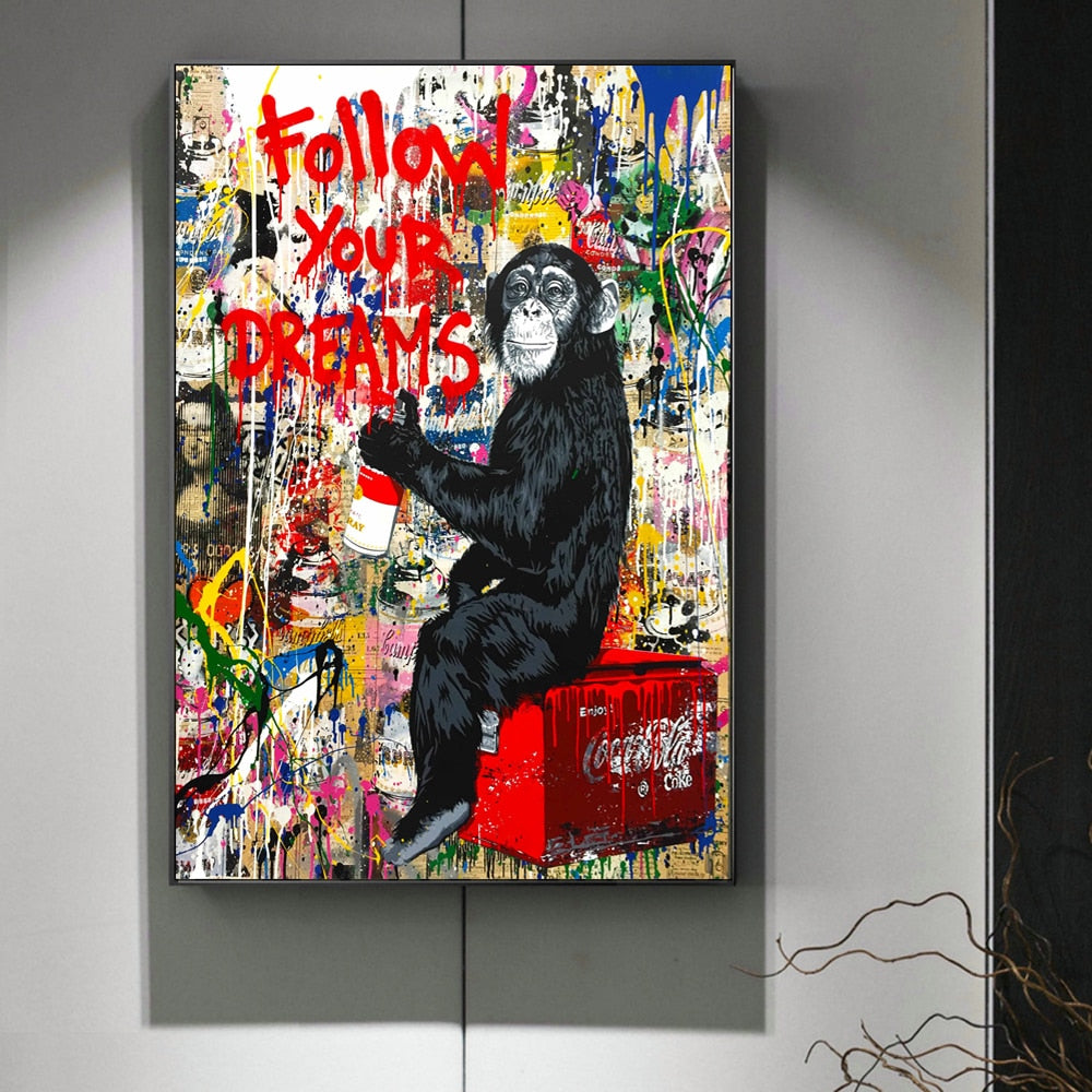 FOLLOW YOUR DREAMS Graffiti Wall Art Canvas Print - Kiaroskuro Kiaroskuro Decor- Canvas Prints, Home Décor & Fashion