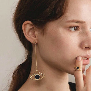 EYE C U Asymmetrical Drop + Stud Earrings - Kiaroskuro