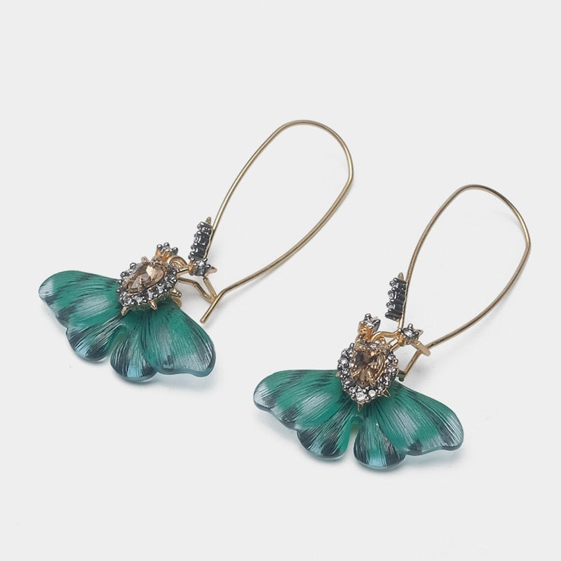 GISELLA Moth Pendant Drop Earrings - Kiaroskuro