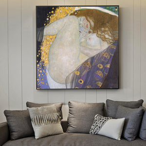 Portrait of Danaë [1908] - Gustav Klimt Kiaroskuro Decor- Canvas Prints, Home Décor & Fashion