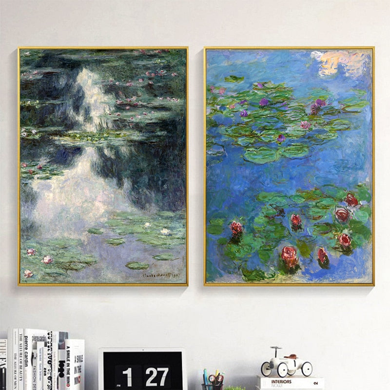 MONET Water Lilies Canvas Print Collection - Claude Monet Kiaroskuro Decor- Canvas Prints, Home Décor & Fashion