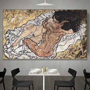 The Embrace [1917] - Egon Schiele Kiaroskuro Decor- Canvas Prints, Home Décor & Fashion