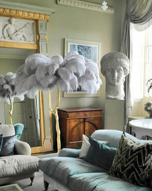 CEDAR Ostrich Feather Plume Floor Lamp - Kiaroskuro Decor Kiaroskuro Decor- Canvas Prints, Home Décor & Fashion