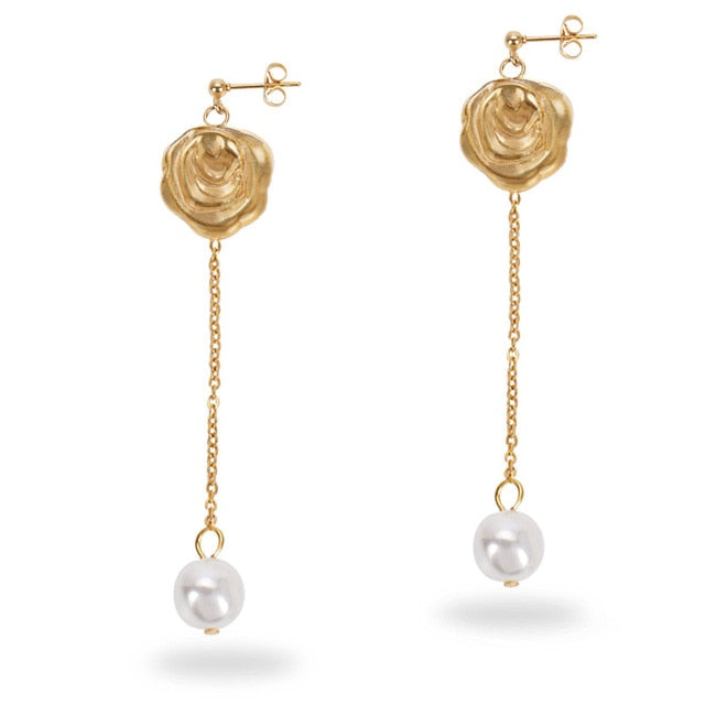 BAROQUE ROSE 18k Gold-plated Pearl Drop Earrings - Kiaroskuro  Kiaroskuro Decor- Canvas Prints, Home Décor & Fashion