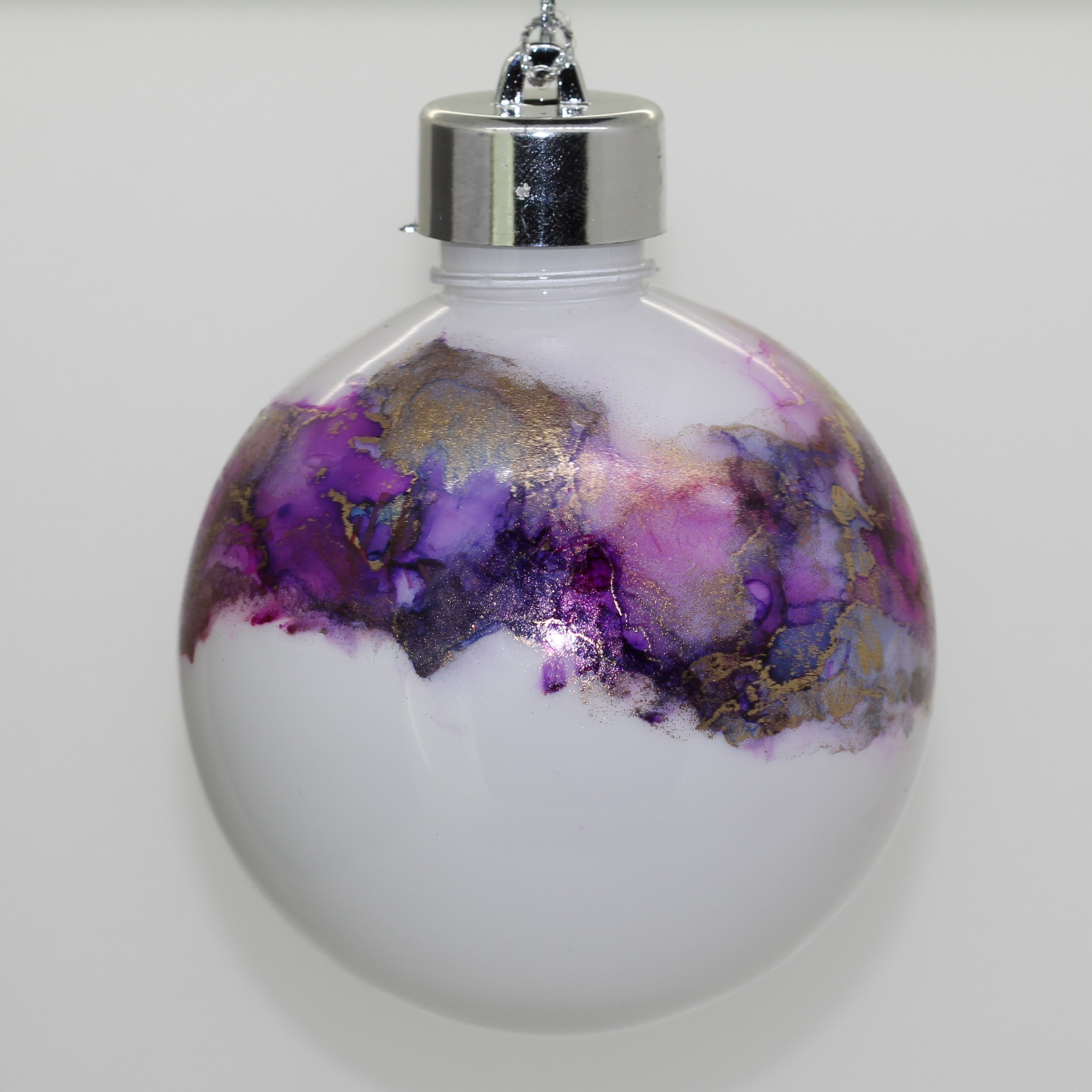 Handmade Alcohol Ink Bauble Amethyst and Turquoise