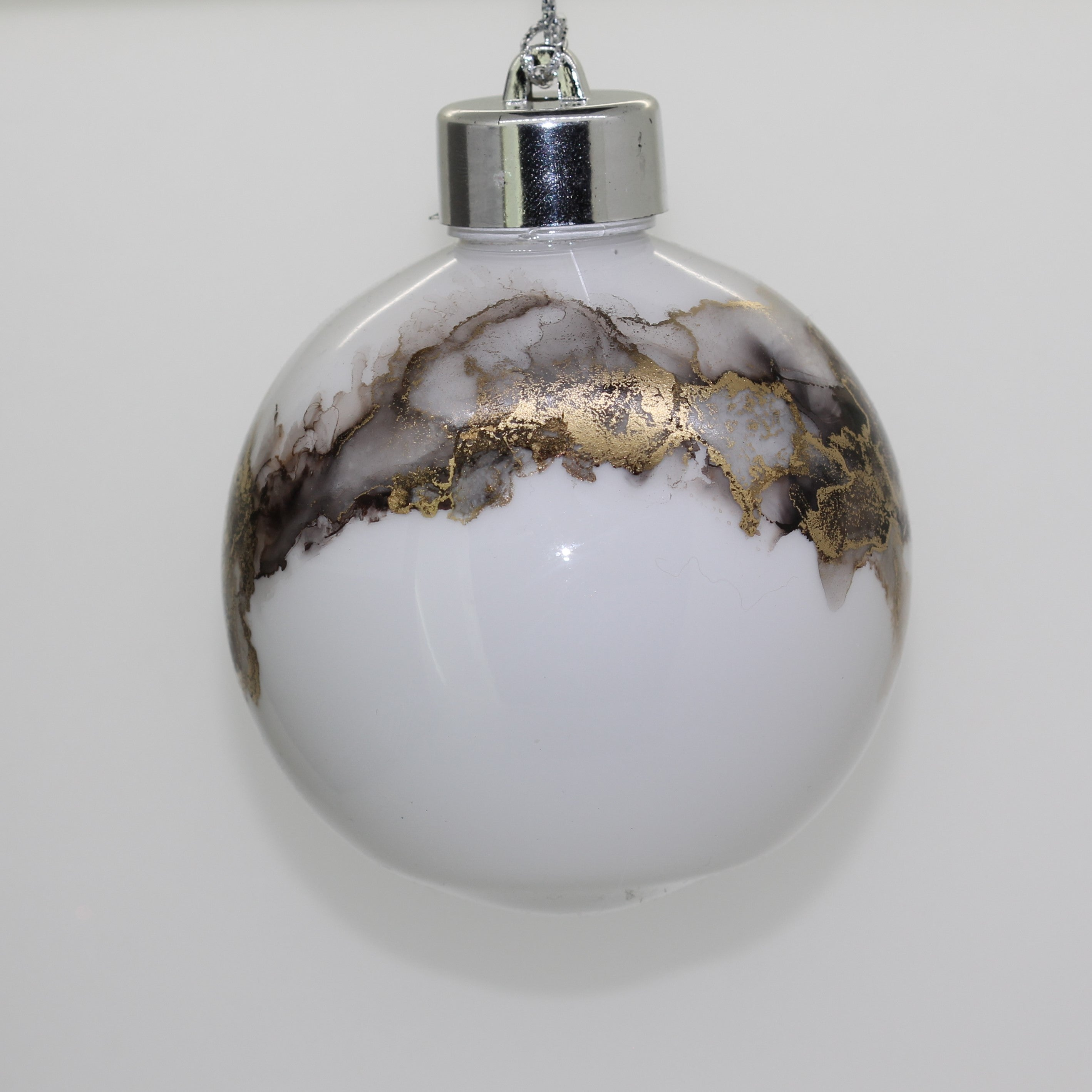Handmade Alcohol Ink Bauble - Black and Gold