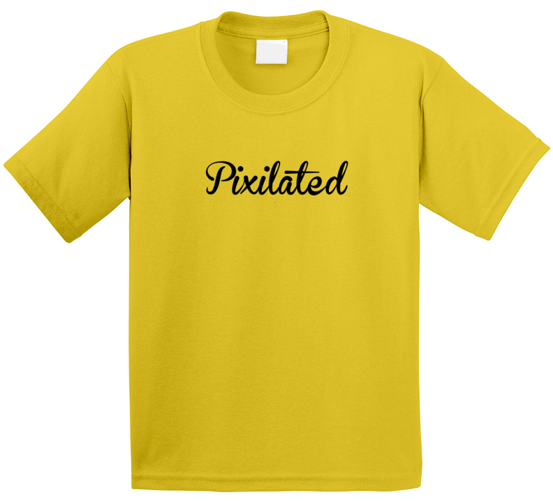 Yellow Pixilated Kids T Shirt